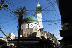Modern Mosque with power lines in Tripoli, Lebanon Stock Photos