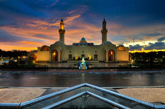 Modern mosque during sunset Stock Images