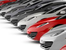 Modern motor cars for sale Stock Photography