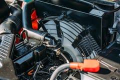 Modern motor eller motor av det industriella laddar- eller sammanslutningmedlet eller den lilla traktoren, slut upp Royaltyfria Bilder