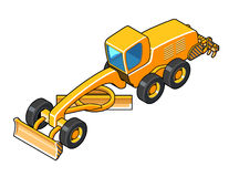 Modern motor grader with second blade isometric view. Motor grader vector illustration. Isolated isometric view icon Stock Images