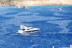 Modern motor yacht in Naama Bay Stock Photography