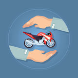 Modern Motorbike Insurance, Service Company Logo. Black and red modern fast motorbike in two carefull hands. Two wheels and tyres throttle seat powerful engine Royalty Free Stock Photos