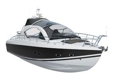 Modern motorboat, 3D rendering stock illustration