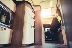 Modern Motorhome Interior. Elegant Materials and Finishing. Motorcoaching Theme Stock Photos