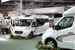 Modern motorhomes at exhibition Royalty Free Stock Photos