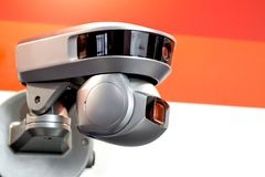 Modern motorized surveillance camera. Double wide angle moving lense. Self learning nArtificial Intelligence. Tracking. Target. Folowing subject and data Stock Photography
