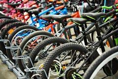 Modern mountain bikes in shop royalty free stock photos