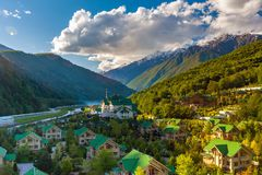Ski Resort at Caucasus Mountains, Krasnaya Polyana, Sochi, Russia. stock photos