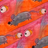 Modern mouse, eyes seamless watercolor artist wallpaper texture Stock Photos
