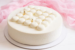 Modern mousse white cake Stock Images