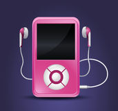 Modern mp3 player. With earphones made in pink colors suitable for teenage generation Stock Photo