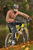 Modern MTB cyclist. Mountain bike cyclist driving in forest Stock Photography