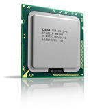 Modern multicore CPU. Isolated on white reflective background Royalty Free Stock Images