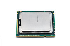 Modern multicore CPU with white backgroun stock image