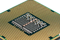 Modern multicore CPU with white background.  Stock Photo