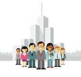 Modern multicultural business people team concept with leader in flat style Stock Photos