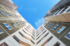 Modern multistory apartment panel building. Look up at the modern multistory apartment panel building Stock Photo