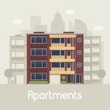 Modern Multistory House on City Background Royalty Free Stock Photos