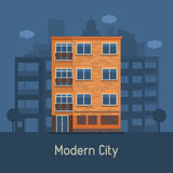 Modern Multistory House on City Background Stock Photo
