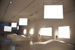 Modern museum. With blank canvas Royalty Free Stock Image
