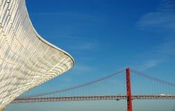 Modern museum and old bridge, Lisbon Royalty Free Stock Photos