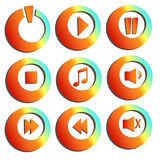 Modern music buttons collection. Modern music buttons orange collection royalty free illustration