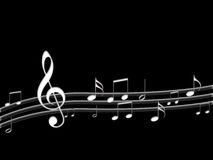 Modern music notes  in black. Modern conceptual music notes  design in black background Stock Photos