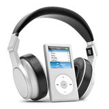 Modern musical multimedia player and silver headphones. Stock Image