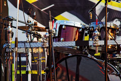 Modern musical quipment on stage before concert Royalty Free Stock Photos