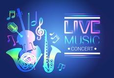 Modern musikalisk affisch för Live Music Concert Banner Colorful stil Arkivfoto