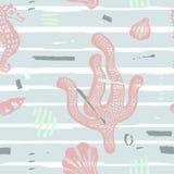 Modern naadloos overzees patroon Abstracte hand getrokken achtergrond met borstelslagen Mariene textuur met koraal, seahorse, zee Stock Afbeeldingen