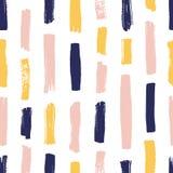 Modern naadloos patroon met gele, roze, blauwe kwaststreken op witte achtergrond Creatieve achtergrond met verticale verf royalty-vrije illustratie