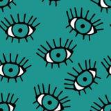 Modern naadloos patroon met in hand getrokken oogappels met wimpers stock illustratie