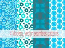 4 modern, nahtlose Muster des Vektors Lizenzfreie Stockbilder