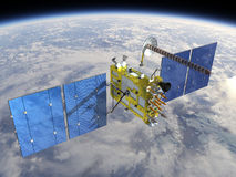 Modern navigation satellite. At the Earth orbit Stock Images