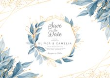 Modern navy blue wedding invitation card template with watercolor floral frame and border. Greenery floral border save the date,