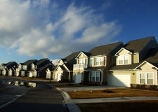 Modern neighborhood. A new neighborhood street with modern homes Stock Photography