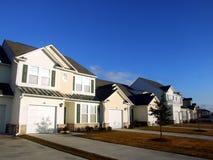 Modern neighborhood. A new neighborhood street with modern homes Stock Image