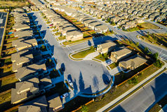 Modern Neighborhood Communities with Cul De Sac low angle evening golden hour Royalty Free Stock Photo