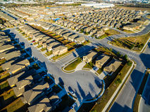 Modern Neighborhood Communities with Cul De Sac low angle evening golden hour Royalty Free Stock Photography