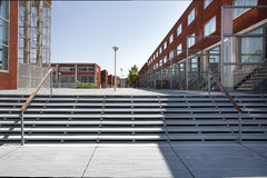 Modern neighborhood with metal pavement. In the Katendrecht district in Rotterdam, the Netherlands Royalty Free Stock Photo