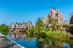 Modern Neighbourhood with Wooden Houses in Alkmaar Netherlands. Modern Neighbourhood with Wooden Houses in Alkmaar, Netherlands Royalty Free Stock Photo
