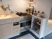Modern neo classical wooden kitchen Stock Photos
