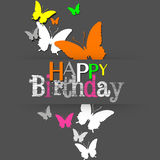 Modern Neon Butterflies Happy Birthday Stock Images