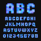 Modern neon pixel font on black background. Stock Photography