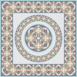Netrivail abstract floral geometric pattern, background, frame. Modern, netrivail and simple color abstract geometric pattern from abstract forms in blue and Royalty Free Stock Image