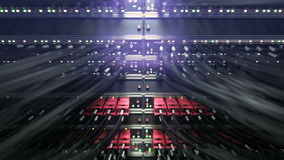 Modern network switch with cables. repeately move server. 3d rendering stock footage