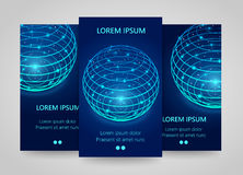 Modern network vertical banners, Global sphere sign, 3d neon Royalty Free Stock Photography