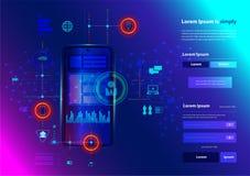 Vector modern networking smart phone innovation technology royalty free illustration
